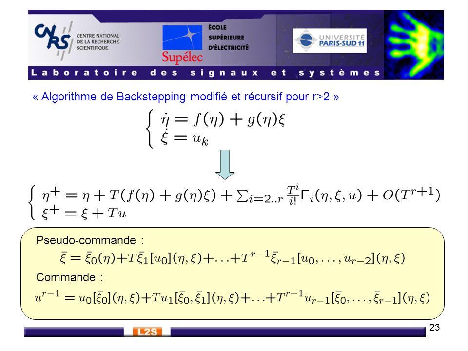 « Algorithme de Backstepping modifié et récursif pour r>2 »