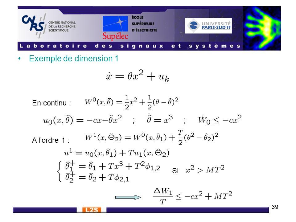 Exemple de dimension 1 En continu : A l'ordre 1 : Si