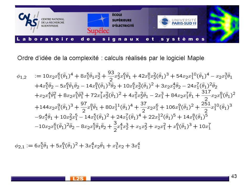 Ordre d'idée de la complexité : calculs réalisés par le logiciel Maple