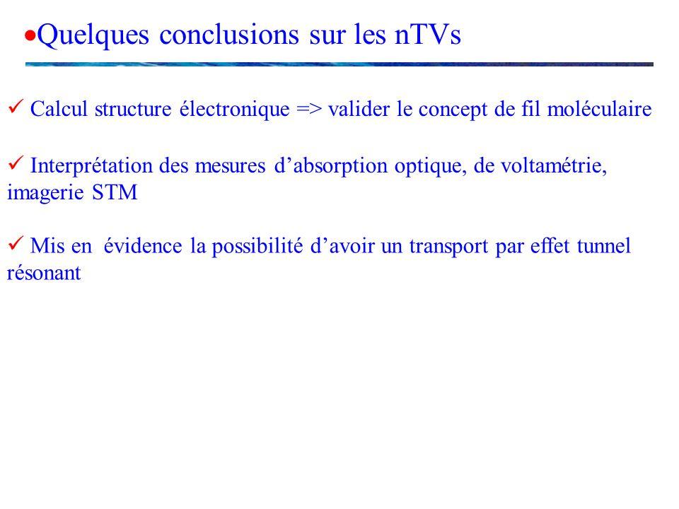 Quelques conclusions sur les nTVs