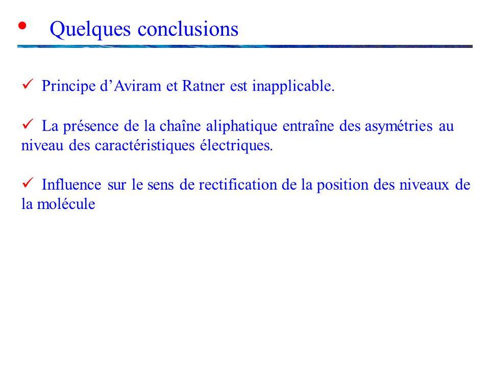  Quelques conclusions  Principe d'Aviram et Ratner est inapplicable.
