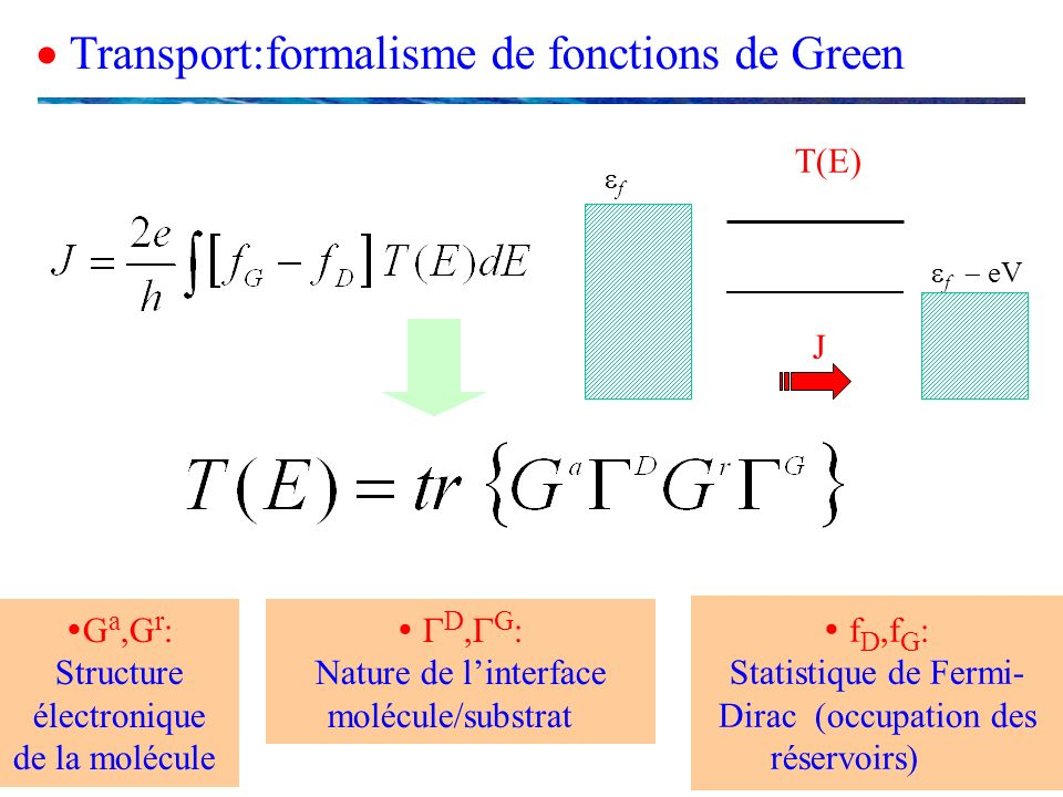  Transport:formalisme de fonctions de Green