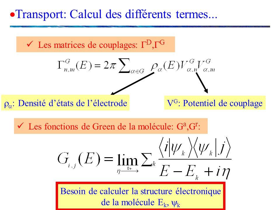 Transport: Calcul des différents termes...