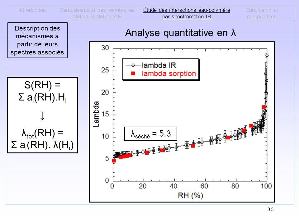 Analyse quantitative en λ