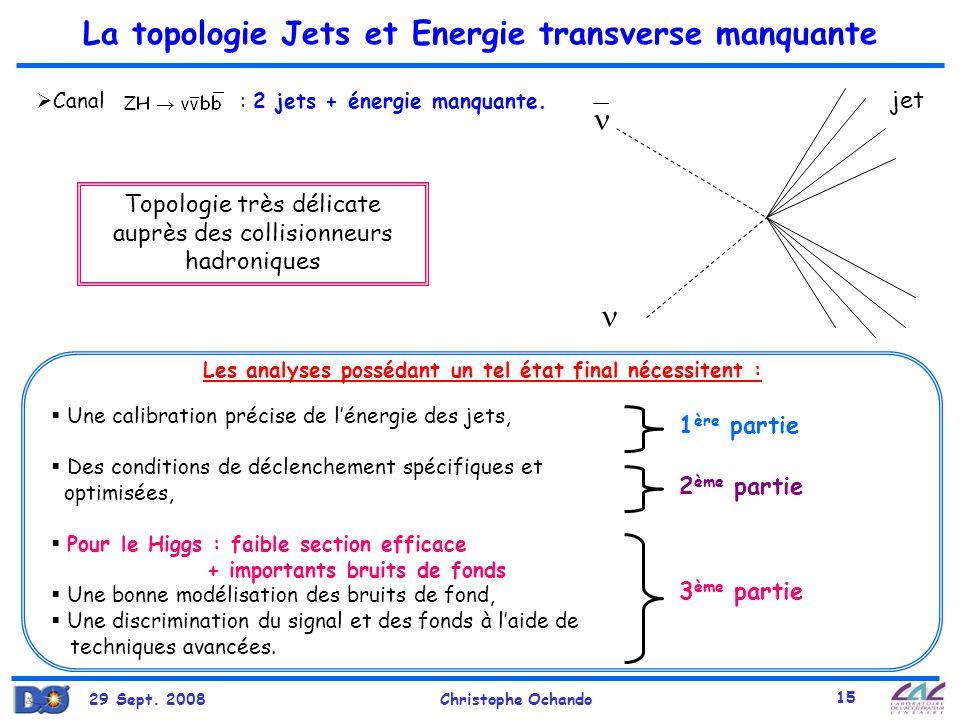 La topologie Jets et Energie transverse manquante