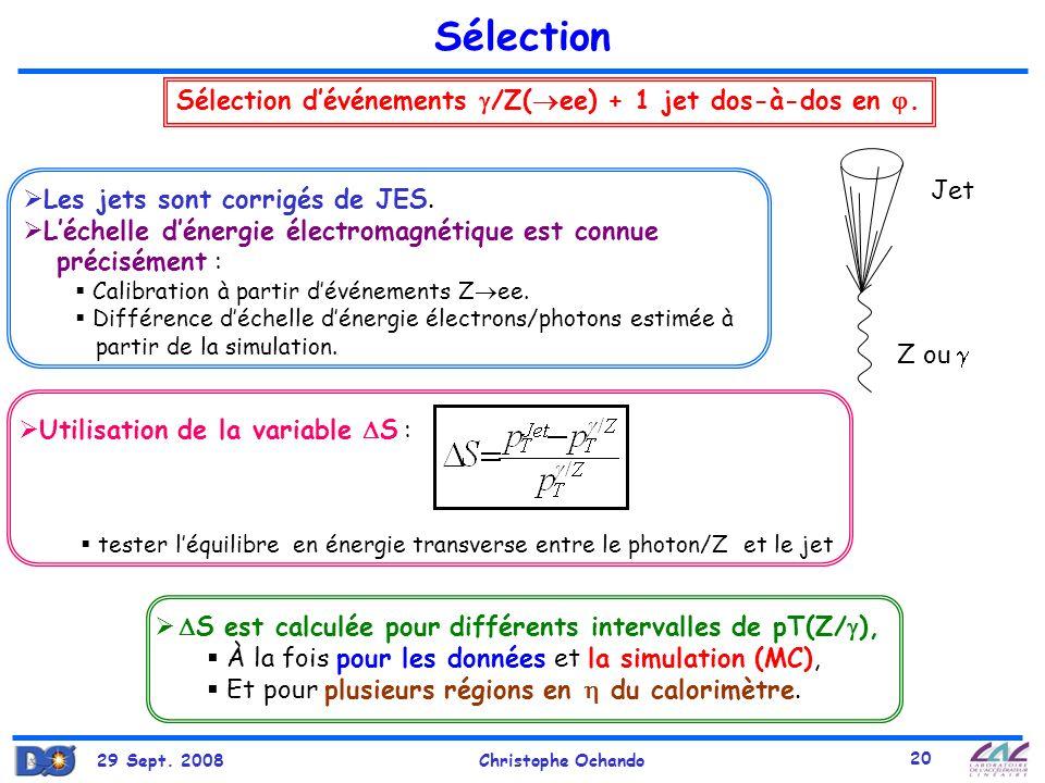 Sélection Sélection d'événements /Z(ee) + 1 jet dos-à-dos en . Jet