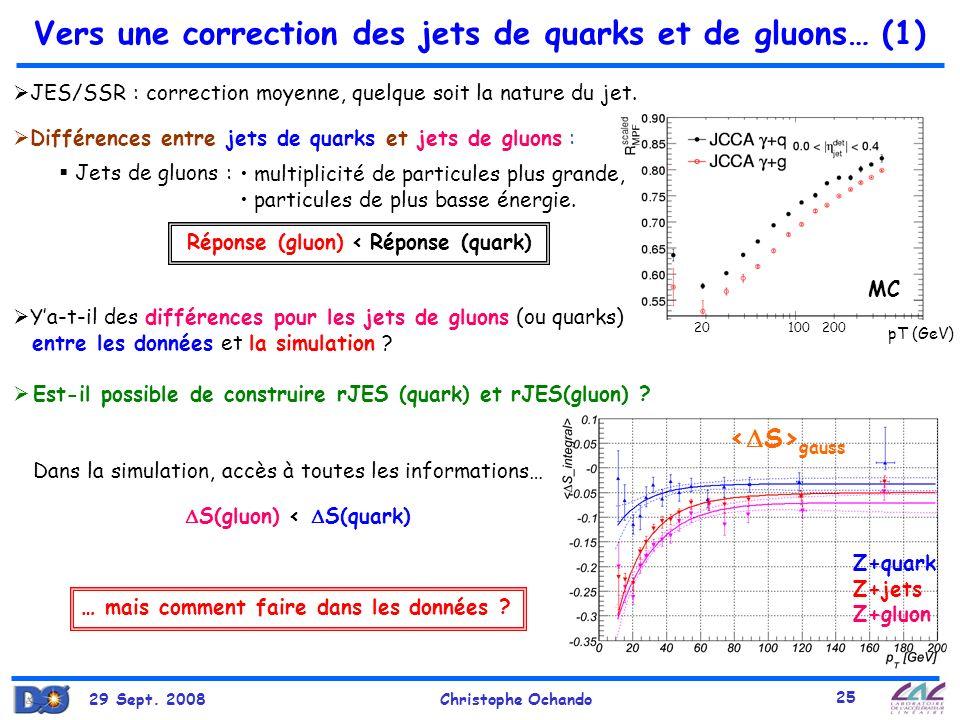 Vers une correction des jets de quarks et de gluons… (1)