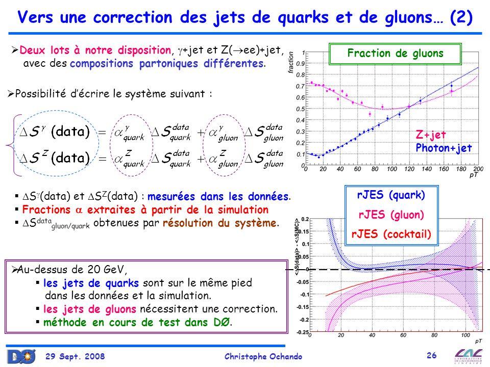 Vers une correction des jets de quarks et de gluons… (2)