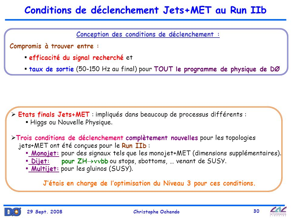 Conditions de déclenchement Jets+MET au Run IIb