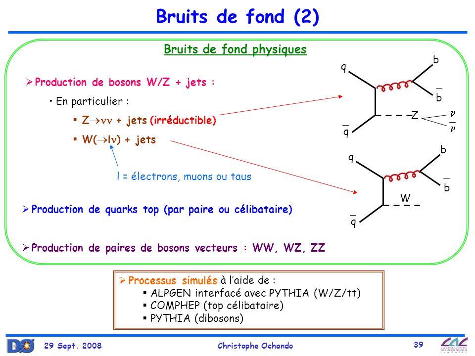 Bruits de fond (2) Bruits de fond physiques   b q