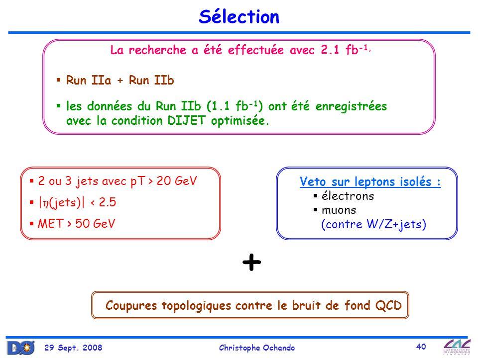 + Sélection La recherche a été effectuée avec 2.1 fb-1,