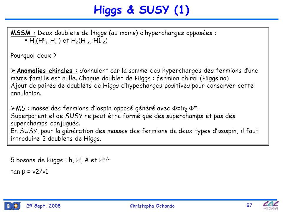 Higgs & SUSY (1) MSSM : Deux doublets de Higgs (au moins) d'hypercharges opposées : H1(H01, H1-) et H2(H-2, H1-2)