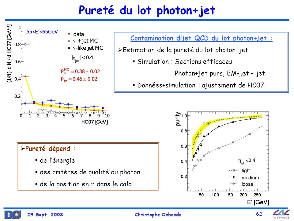 Pureté du lot photon+jet