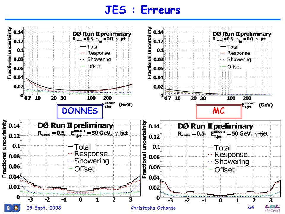 JES : Erreurs DONNES MC 29 Sept. 2008 Christophe Ochando