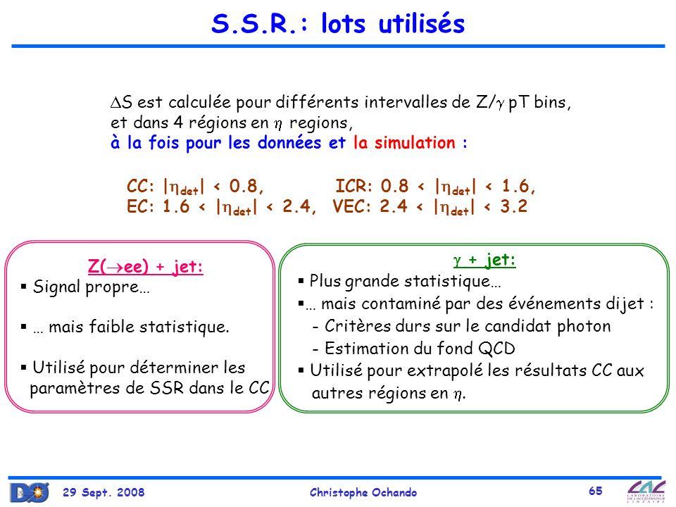 S.S.R.: lots utilisés S est calculée pour différents intervalles de Z/ pT bins, et dans 4 régions en  regions,