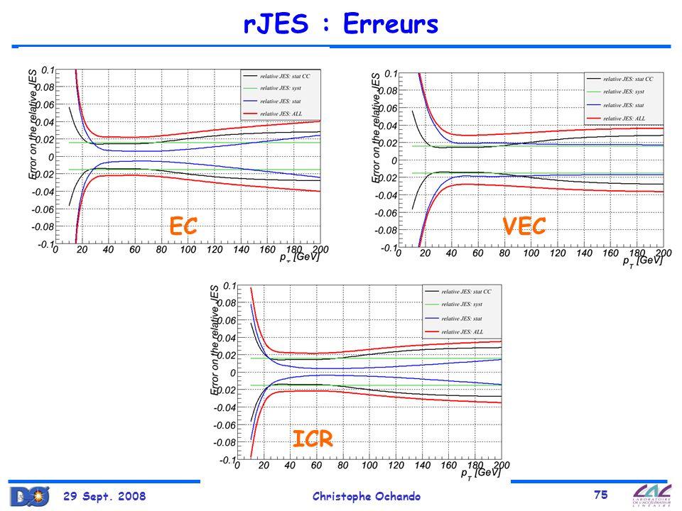 rJES : Erreurs EC VEC ICR 29 Sept. 2008 Christophe Ochando