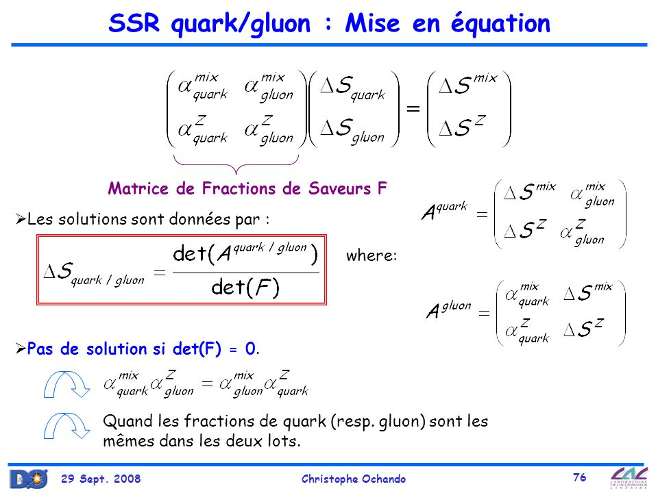 SSR quark/gluon : Mise en équation