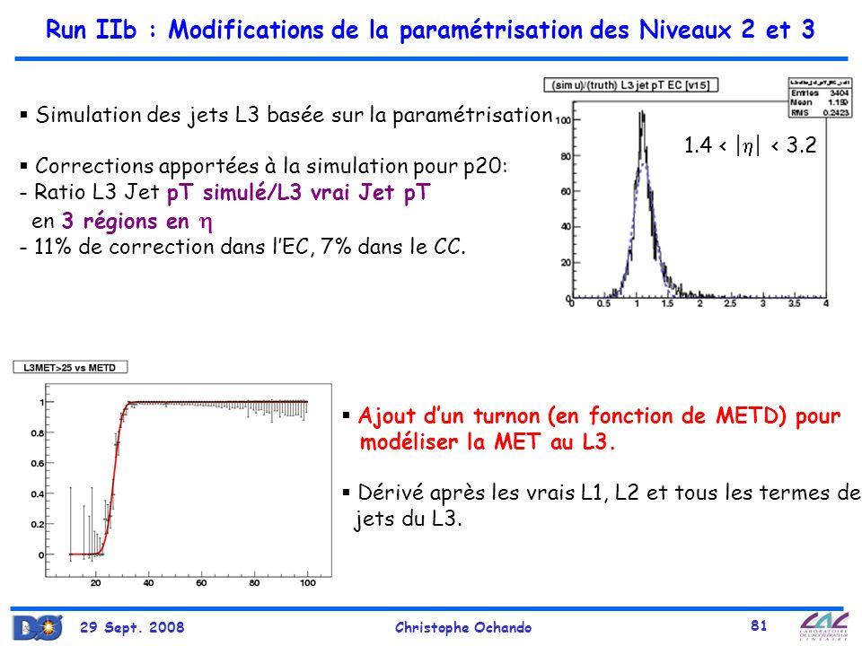 Run IIb : Modifications de la paramétrisation des Niveaux 2 et 3