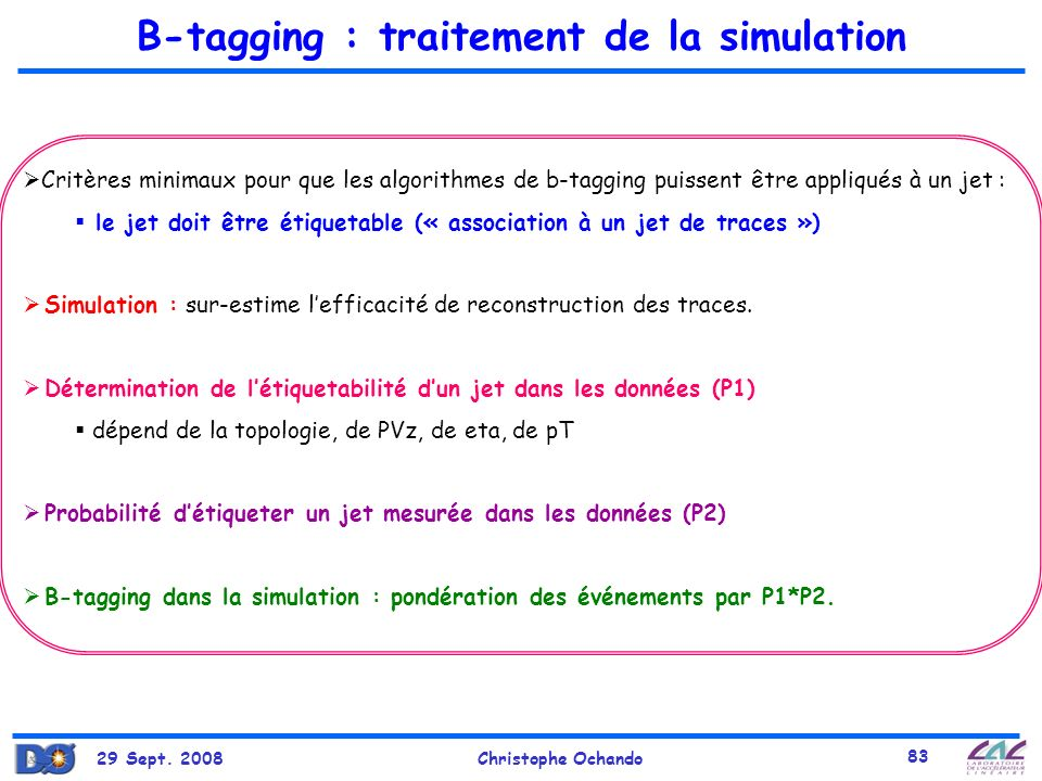 B-tagging : traitement de la simulation