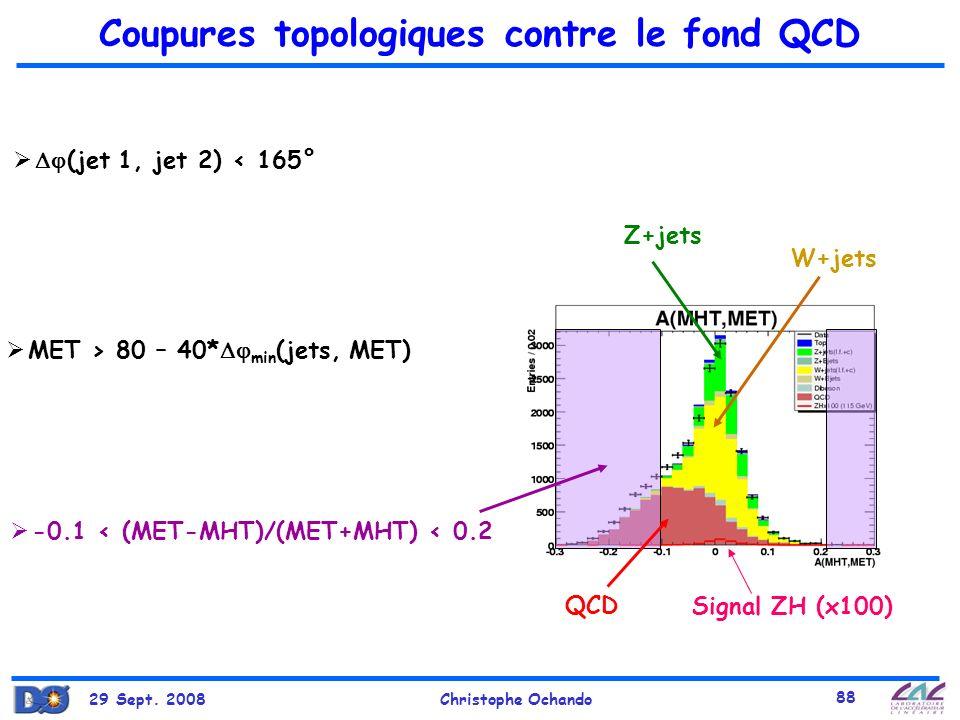Coupures topologiques contre le fond QCD