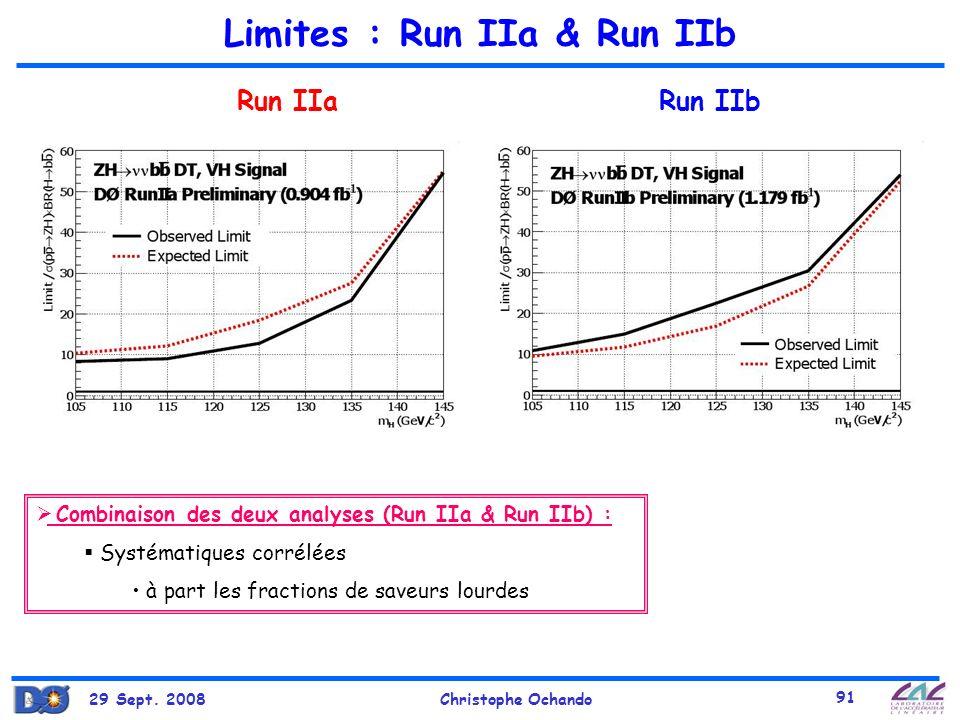 Limites : Run IIa & Run IIb