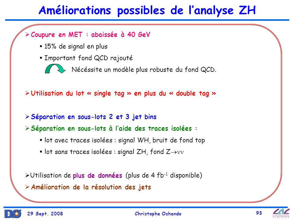 Améliorations possibles de l'analyse ZH