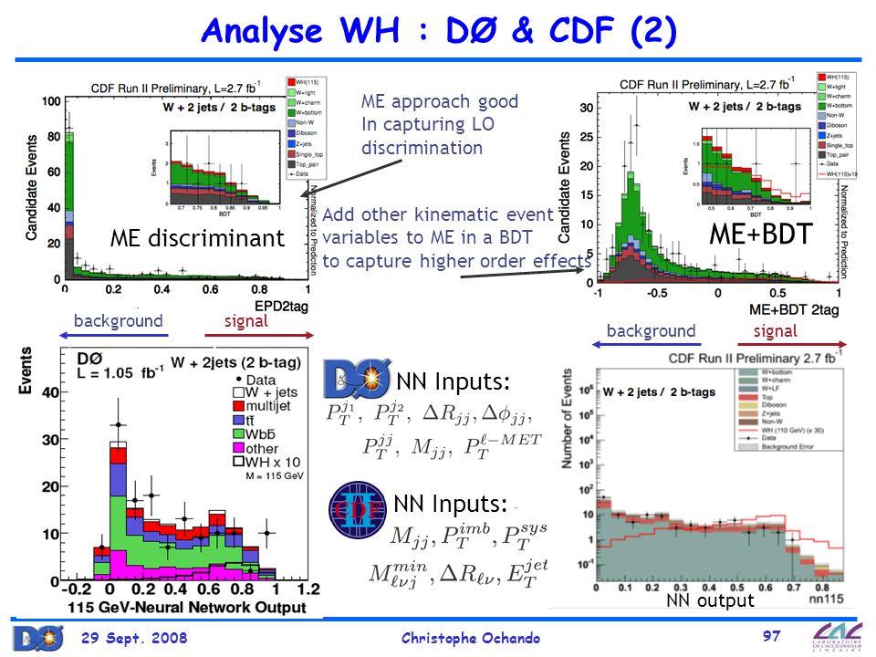 Analyse WH : DØ & CDF (2) ME+BDT ME discriminant NN Inputs:
