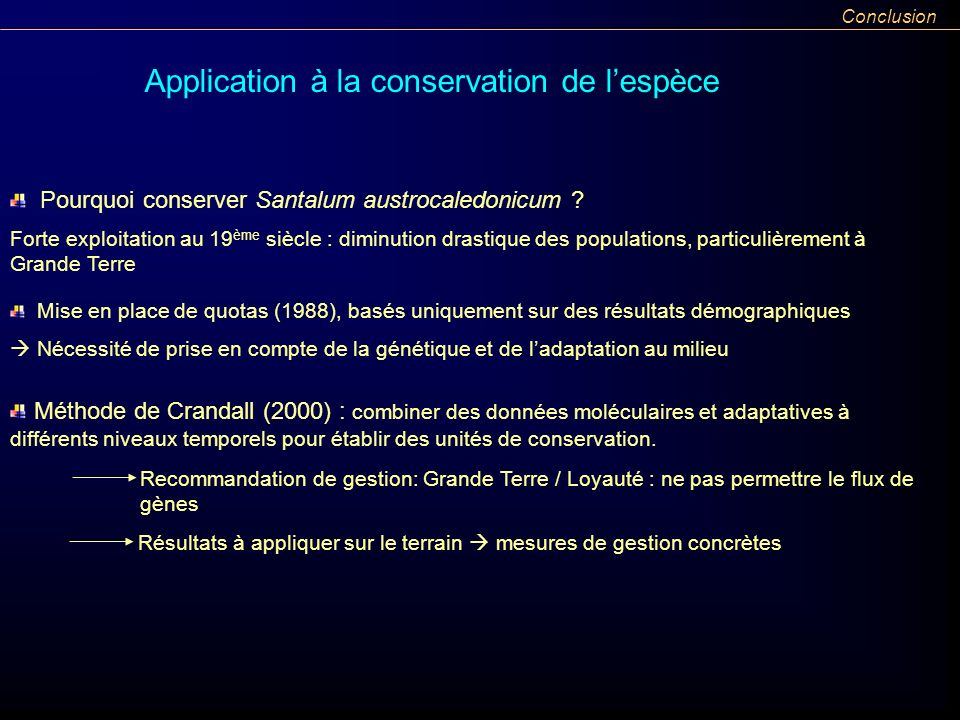 Application à la conservation de l'espèce
