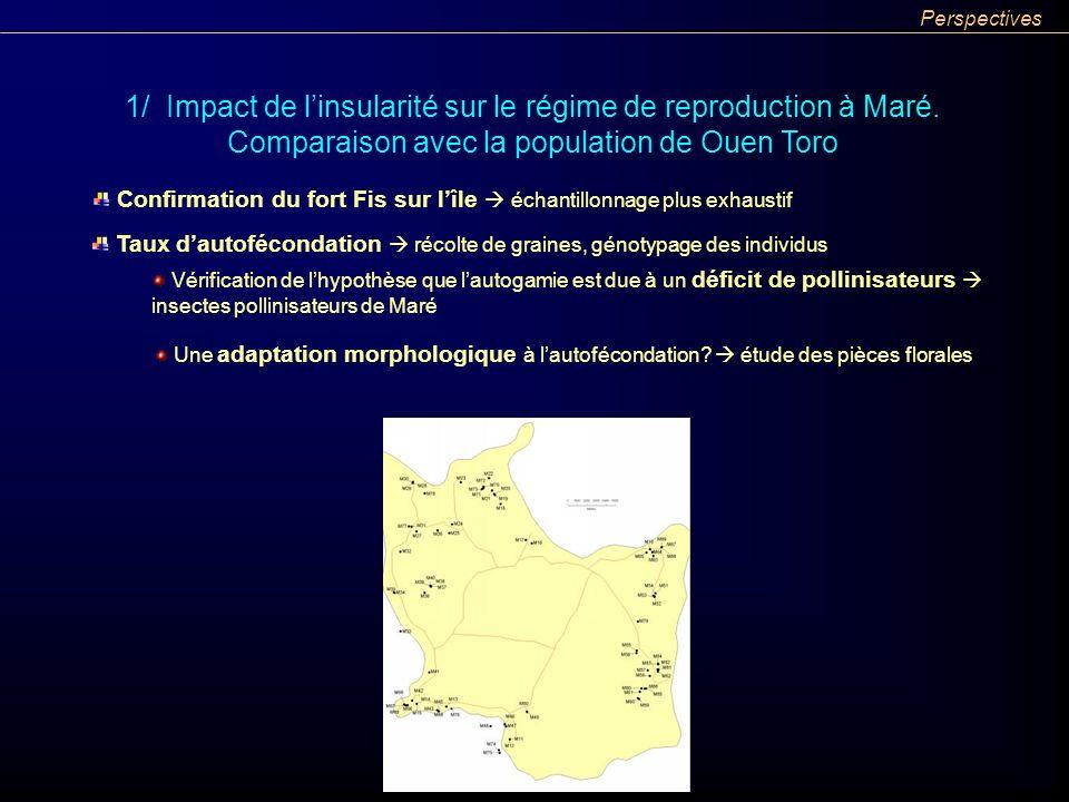 Perspectives 1/ Impact de l'insularité sur le régime de reproduction à Maré. Comparaison avec la population de Ouen Toro.