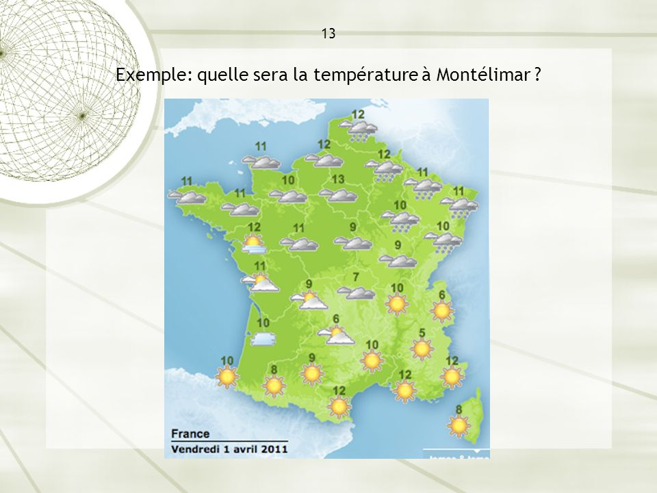 13 Exemple: quelle sera la température à Montélimar
