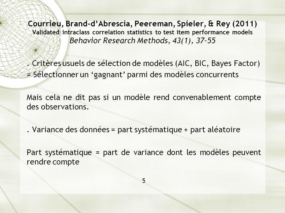 . Critères usuels de sélection de modèles (AIC, BIC, Bayes Factor)