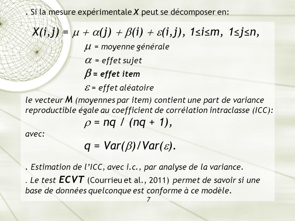 Si la mesure expérimentale X peut se décomposer en: X(i,j) =   (j)  (i)  (i,j), 1≤i≤m, 1≤j≤n,  = moyenne générale  = effet sujet  = effet item  = effet aléatoire le vecteur M (moyennes par item) contient une part de variance reproductible égale au coefficient de corrélation intraclasse (ICC):  = nq / (nq + 1), avec: q = Var()/Var().