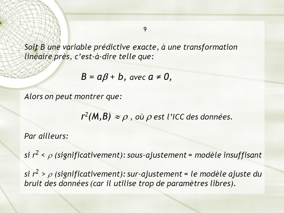 9 Soit B une variable prédictive exacte, à une transformation linéaire près, c'est-à-dire telle que: B = a + b, avec a ≠ 0, Alors on peut montrer que: r2(M,B)   , où  est l'ICC des données.