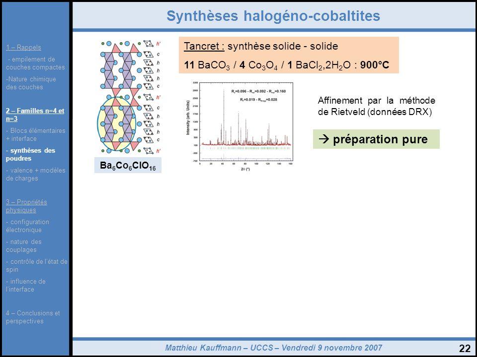 Synthèses halogéno-cobaltites