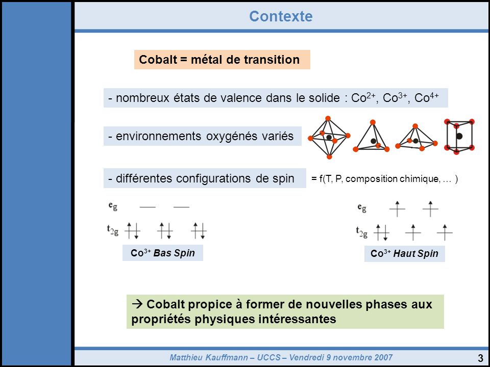 Contexte Cobalt = métal de transition