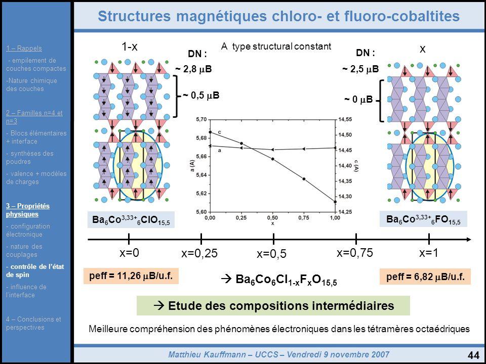 Structures magnétiques chloro- et fluoro-cobaltites