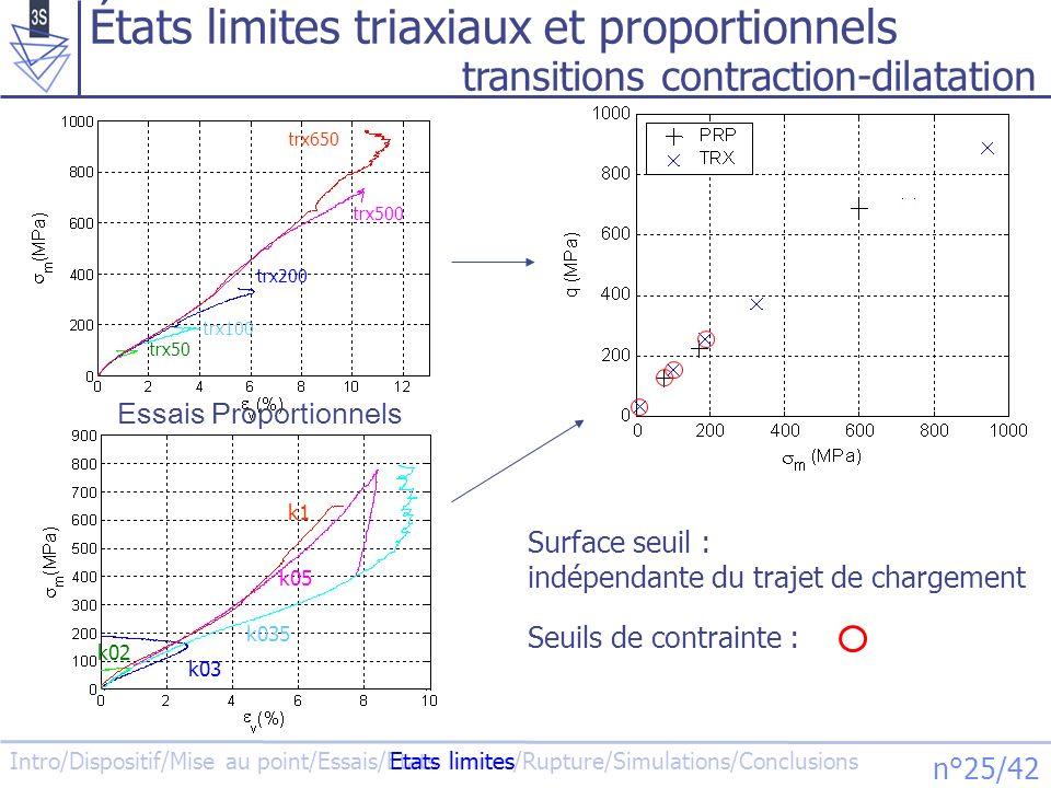 États limites triaxiaux et proportionnels