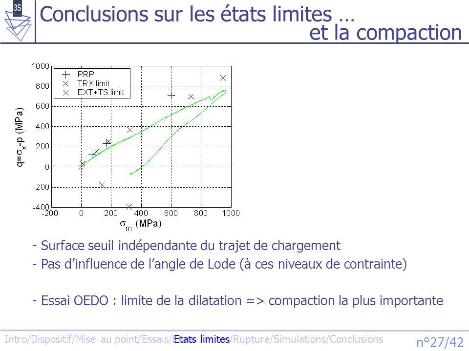 Conclusions sur les états limites … et la compaction