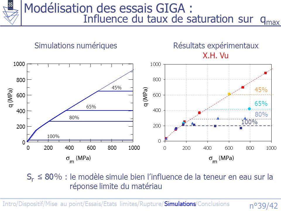 Modélisation des essais GIGA :