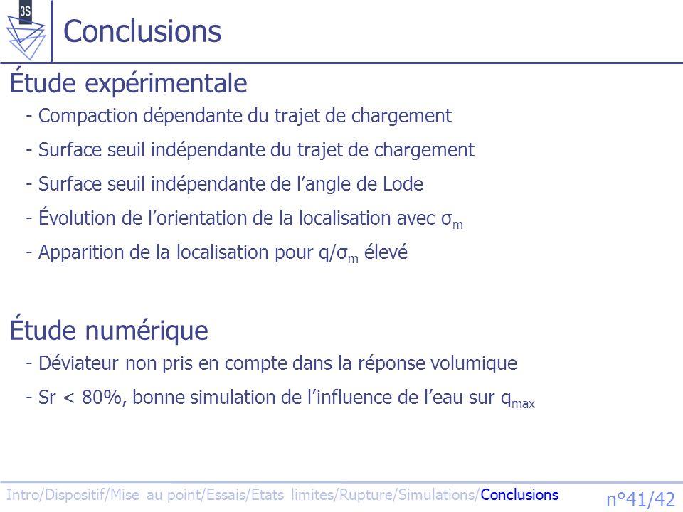 Conclusions Étude expérimentale Étude numérique