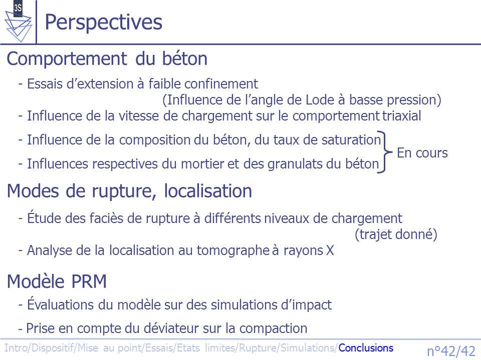 Perspectives Comportement du béton Modes de rupture, localisation