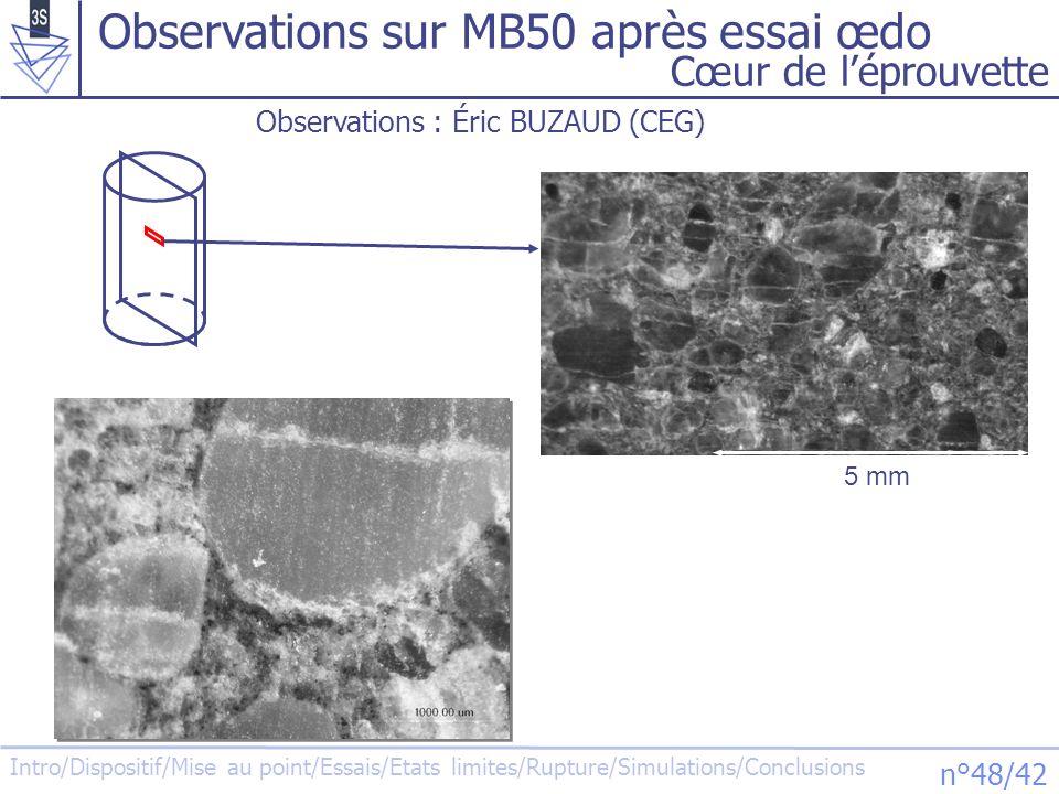 Observations sur MB50 après essai œdo
