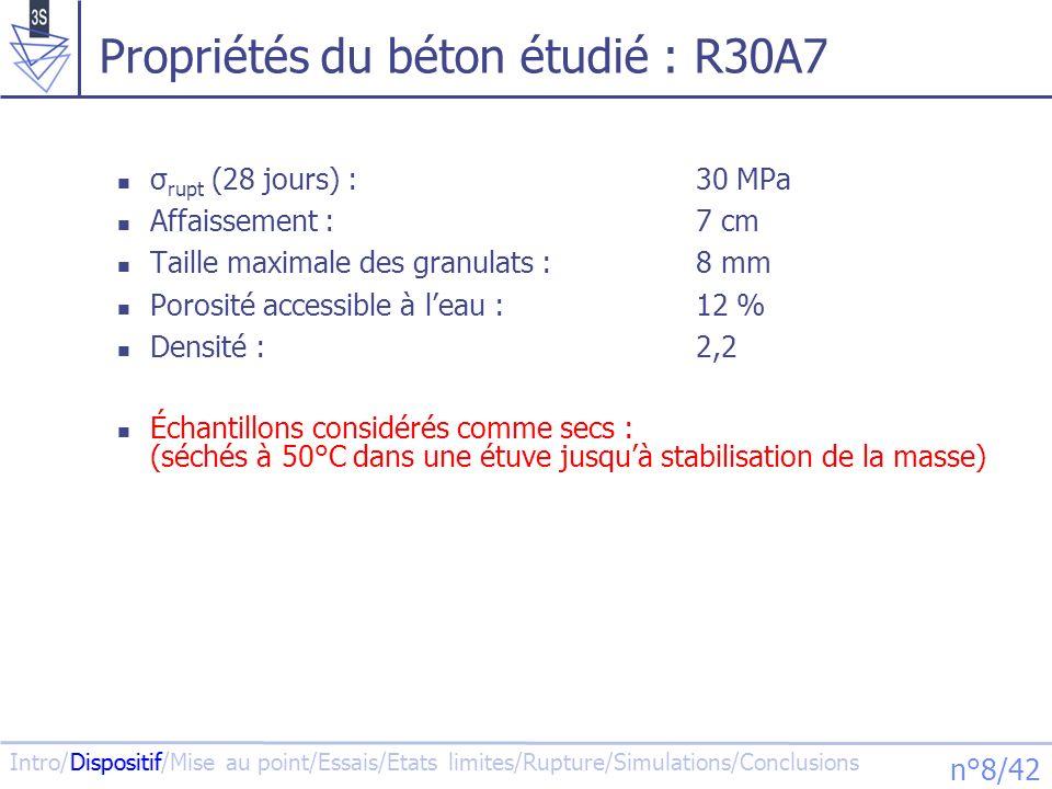 Propriétés du béton étudié : R30A7