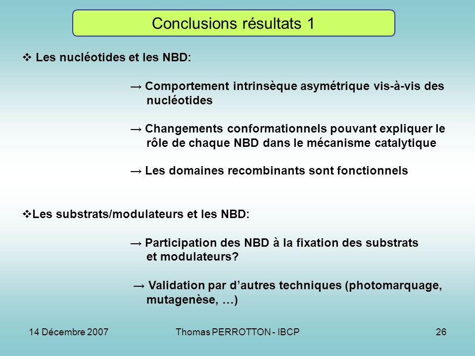 Conclusions résultats 1