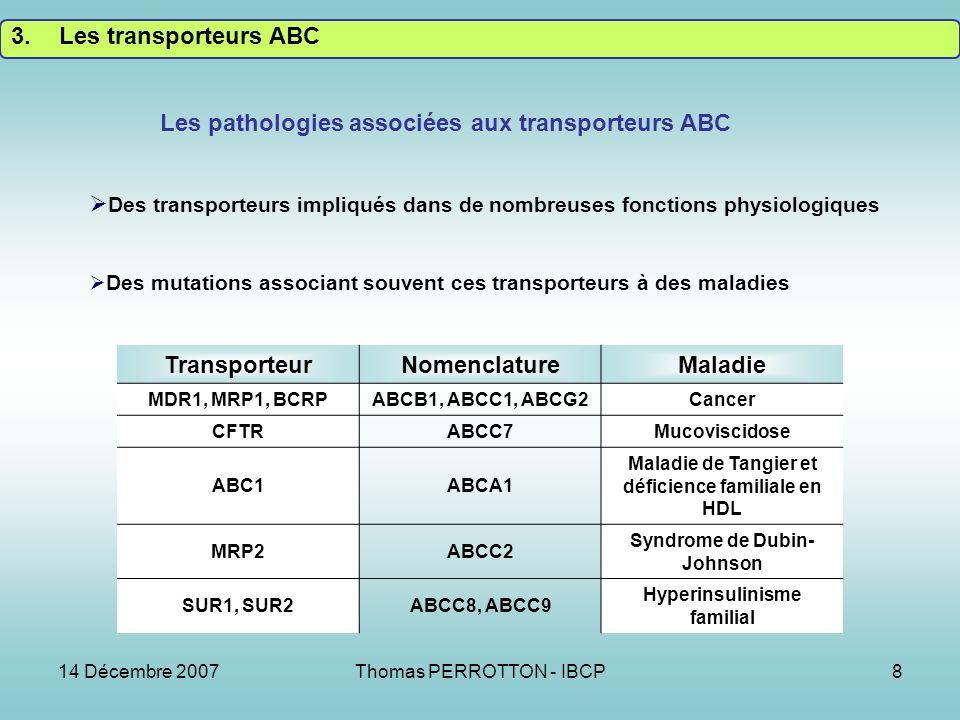 Les pathologies associées aux transporteurs ABC