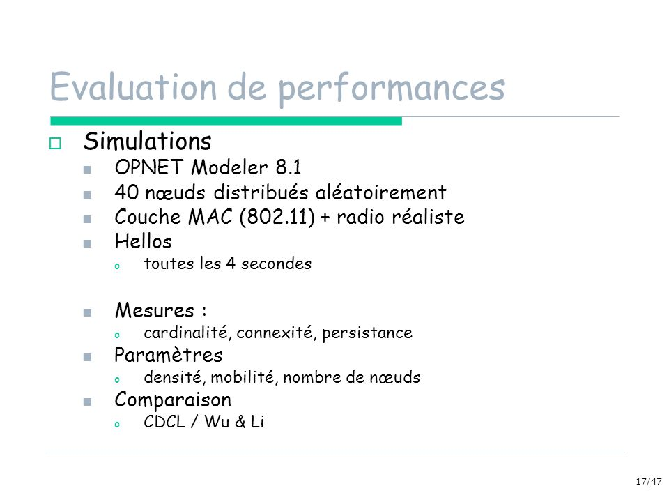 Evaluation de performances