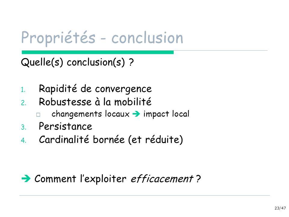Propriétés - conclusion