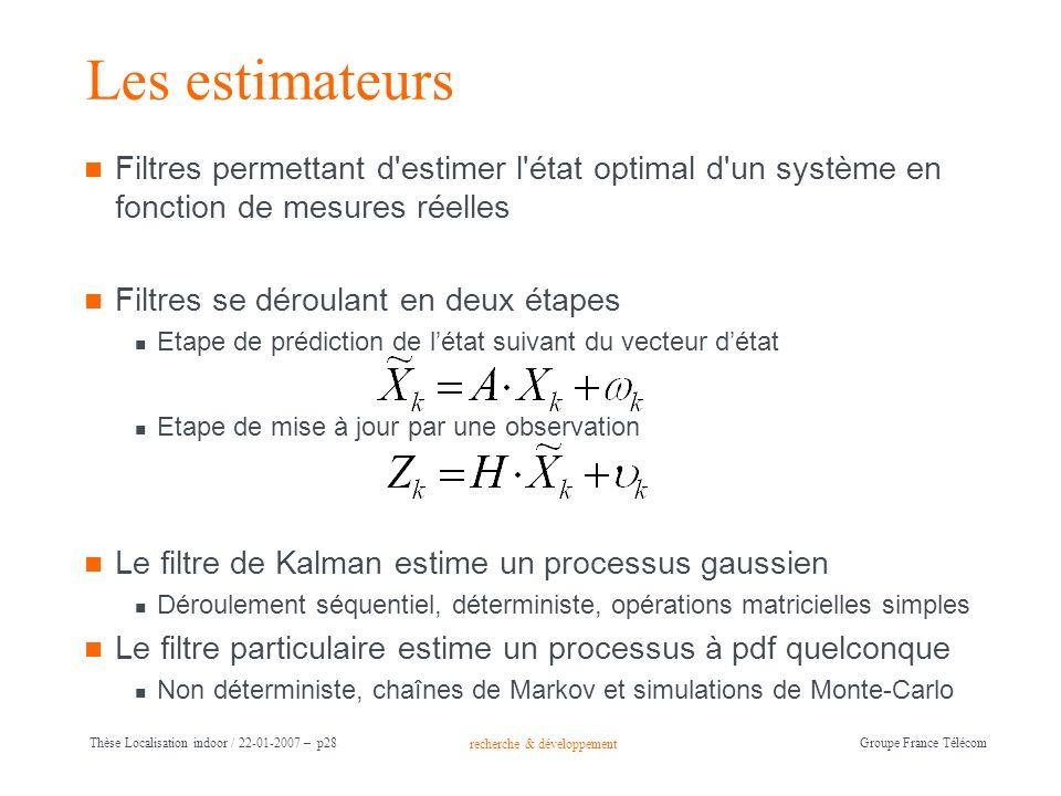 Les estimateurs Filtres permettant d estimer l état optimal d un système en fonction de mesures réelles.