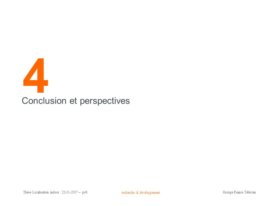 4 Conclusion et perspectives