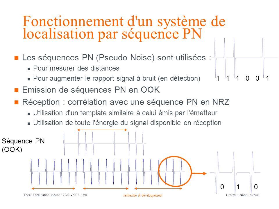 Fonctionnement d un système de localisation par séquence PN